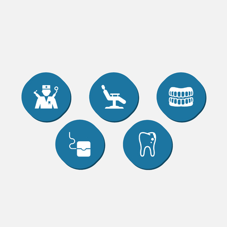 Collection Of Decay, Halitosis, Armchair And Other Elements.  Set Of 5 Teeth Icons Set.