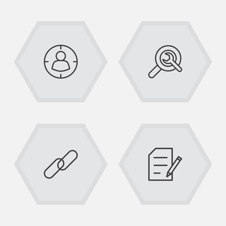 Collection Of Wrench, Targeting, Url And Other Elements.  Set Of 4 Search Outline Icons Set. Illusztráció
