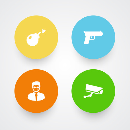 Collection Of Shot, Dynamite, Surveillance And Other Elements.  Set Of 4 Procuring Icons Set.