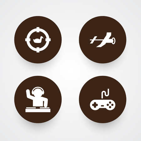 audio mixer: Collection Of Joystick, Target, Disco And Other Elements.  Set Of 4 Hobbie Icons Set. Illustration