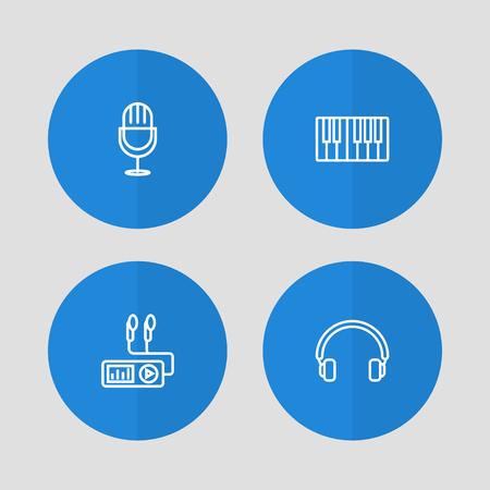 Set Of 4 Melody Outline Icons Set. Colección de plato giratorio, auriculares, Fortepiano y otros elementos.