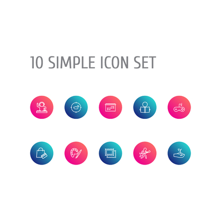 Set Of 10 Entertainment Outline Icons Set.Collection Of Gardening, Dj, Stamps And Other Elements. Illustration