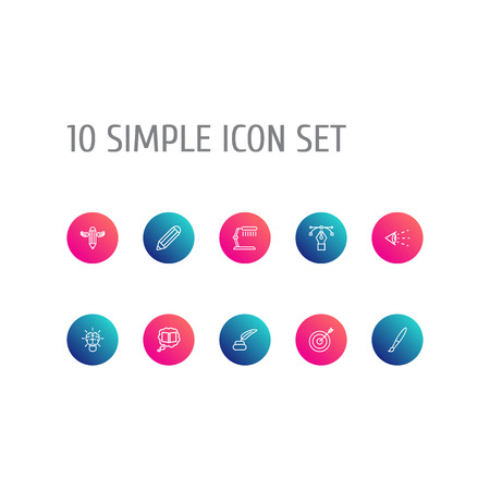 Set Of 10 Constructive Outline Icons Set.Collection Of Writing, Paintbrush, Brain And Other Elements. Illustration