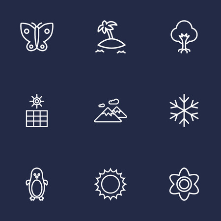 Set Of 9 Natural Outline Icons Set.Collection Of Sun Power, Flower, Butterfly And Other Elements.