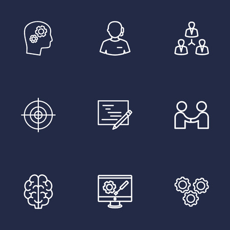 schemes: Set Of 9 Idea Outline Icons Set.Collection Of Solution, Teamwork, Partnership And Other Elements.