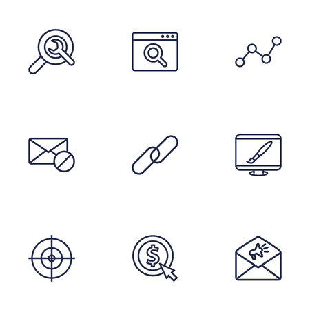 Set Of 9 Optimization Outline Icons Set.Collection Of Advertising, Cost Per, Url And Other Elements.