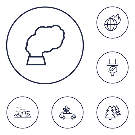 Set Of 6 Atmosphere Outline Icons Set.Collection Of Afforestation, Pollution, Ecol And Other Elements.