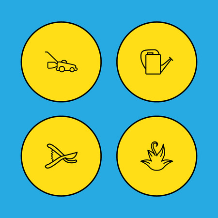 Set Of 4 Farm Outline Icons Set.Collection Of Grass-Cutter, Bailer, Herb And Other Elements.