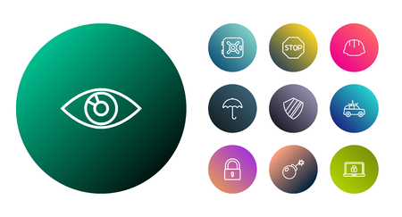 Set Of 10 Procuring Outline Icons Set.Collection Of Vision, Dynamite, Protection And Other Elements.