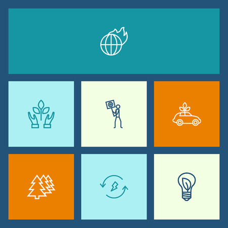 Set Of 7 Bio Outline Icons Set.Collection Of Global Warming, Ecol, Afforestation And Other Elements.