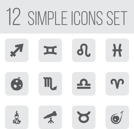 Set Of 12 Galaxy Icons Set.Collection Of Augur, Ram, Scales And Other Elements.