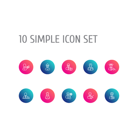 Set Of 10 Job Outline Icons Set.Collection Of Taxi, Policeman, Manager And Other Elements.