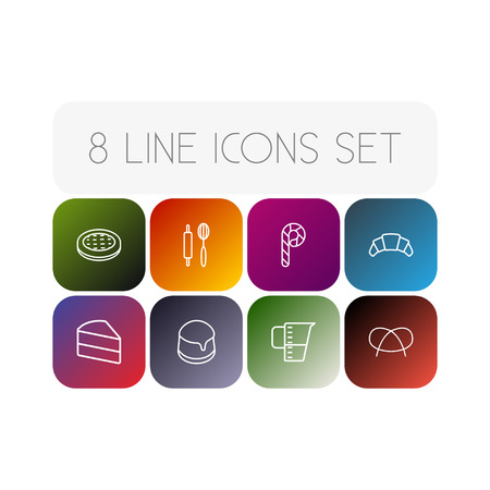 Set Of 8 Cooking Outline Icons Set.Collection Of Cake, Pretzel, Croissant And Other Elements. Vettoriali