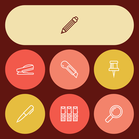 Set Of 7 Tools Outline Icons Set.Collection Of Pen, Pushpin, File Folder And Other Elements.