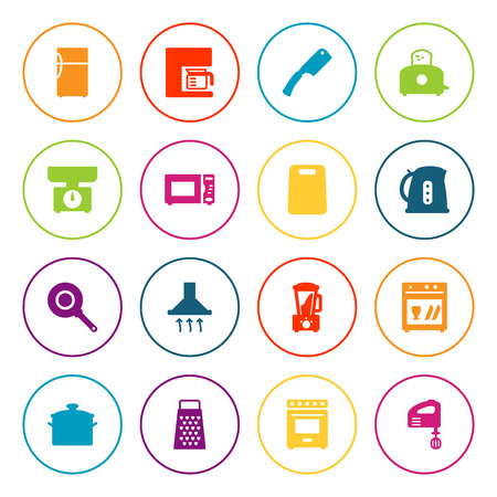 Set Of 16 Cooking Icons Set.Collection Of Squeezer, Washing Machine, Cutting And Other Elements.