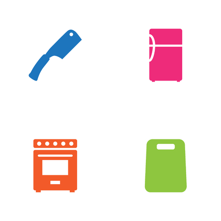 Set Of 4 Cooking Icons Set.Collection Of Furnace, Kitchen Ax, Refrigerator And Other Elements. Illustration