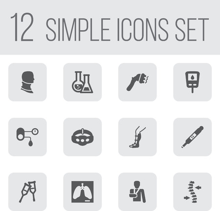 Set Of 12 Medical Icons Set.Collection Of Splint, Lung, Machine And Other Elements. Vetores