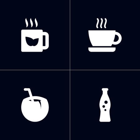 Set Of 4 Drinks Icons Set.Collection Of Cocktail, Green Tea, Cup And Other Elements.