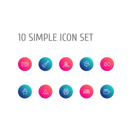 Set Of 10 Outdoor Outline Icons Set.Collection Of Teapot, Rubber Boat, Guitar And Other Elements.