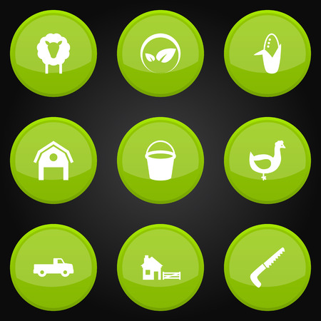 Set Of 9 Agricultural Icons Set.Collection Of Maize, Ecology, Hen And Other Elements.