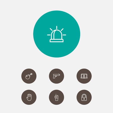 Set Of 7 Procuring Outline Icons Set.Collection Of Dynamite, Alarm, Lock And Other Elements.