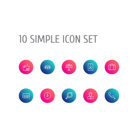 Set Of 10 Management Outline Icons Set.Collection Of Mail, Portfolio, Clock And Other Elements.