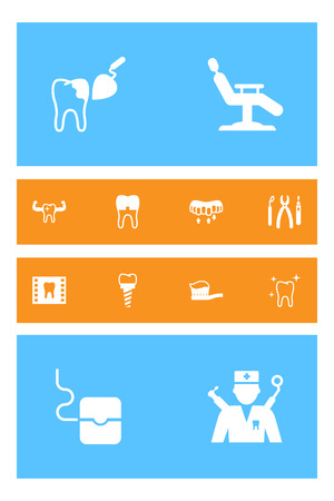 Set Of 12 Teeth Icons Set.Collection Of Dental Crown, Instruments, Brace And Other Elements. Ilustrace