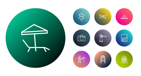 Collection Of Lighthouse, Certificate, Parasol And Other Elements.  Set Of 10 Travel Outline Icons Set.