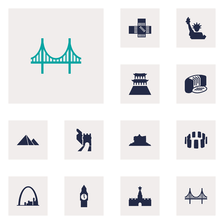Set Of 12 Famous Icons Set.Collection Of China, London, Architecture And Other Elements. Illustration