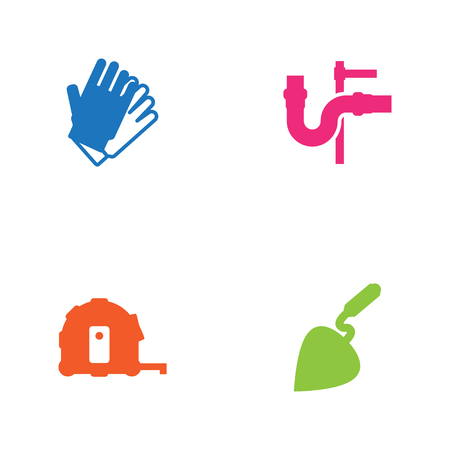 sewer: Set Of 4 Architecture Icons Set.Collection Of Meter, Pipeline, Bricklayer And Other Elements.