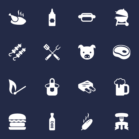 Set Of 16 Bbq Icons Set.Collection Of Drumstick, Fast Food, Beefsteak And Other Elements.