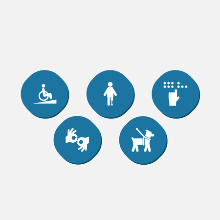 Set Of 5 Accessibility Icons Set.Collection Of Braille, Ramp, Gesture And Other Elements.
