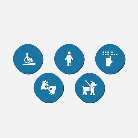 Set van 5 toegankelijkheid Icons Set.Collection van braille, helling, gebaar en andere elementen.