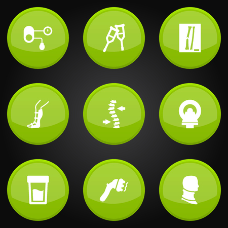 Set Of 9 Healthy Icons Set.Collection Of Machine, Splint, Broken Neck And Other Elements. Illustration