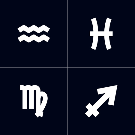 Set Of 4 Astronomy Icons Set.Collection Of Water Bearer, Fishes, Archer And Other Elements.