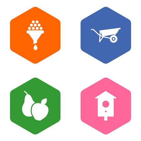 Set Of 4 Horticulture Icons Set.Collection Of Nesting Box, Fruit, Filter And Other Elements. Illustration