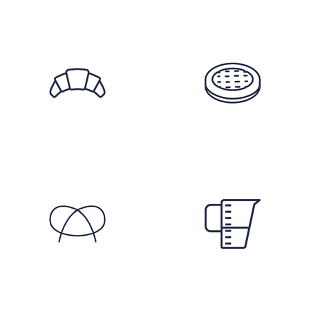 Set Of 4 Pastry Outline Icons Set.Collection Of Apple Pie, Croissant, Pretzel And Other Elements. Vettoriali