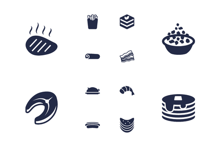 Set Of 12 Dish Icons Set.Collection Of Pork, Seafood, Crepe And Other Elements.