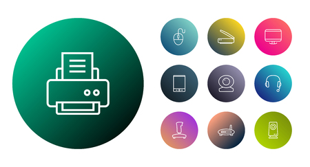 Set Of 10 Laptop Outline Icons Set.Collection Of Monitor, Gamepad, Printer And Other Elements.