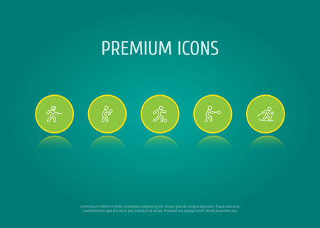 Set Of 5 Fitness Outline Icons Set.Collection Of Ski Running, Player, Rocket And Other Elements. Illustration