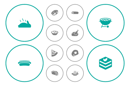 Set Of 12 Eat Icons Set.Collection Of Sausage, Japanese Roll, Roasted And Other Elements. Illustration