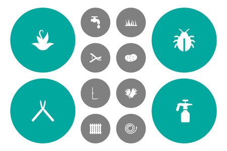 Set Of 12 Farm Icons Set.Collection Of Cutter, Grass, Spray Bottle And Other Elements.