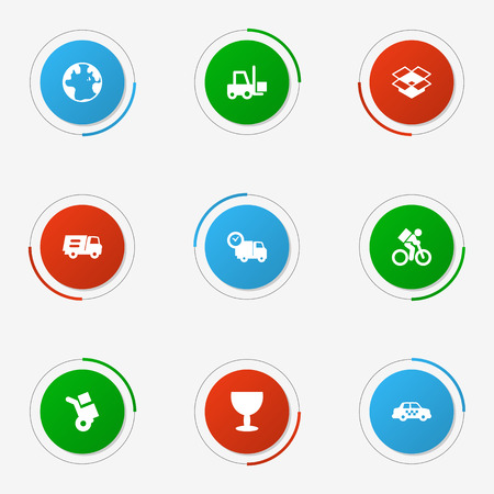 Set Of 9 Shipment Icons Set.Collection Of Delivery, Lorry, Transportation And Other Elements.