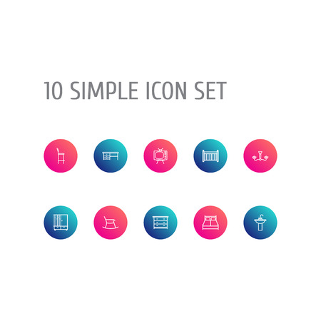Set Of 10 Decor Outline Icons Set.Collection Of Crib, Desk, Tv Set And Other Elements. Illustration