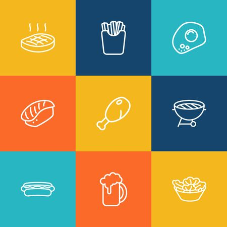 Set Of 9 Eat Outline Icons Set.Collection Of Steak, French Fries, Omelette And Other Elements.