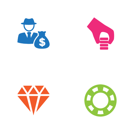Set Of 4 Casino Icons Set.Collection Of Money, Investment, Chips Pile And Other Elements.