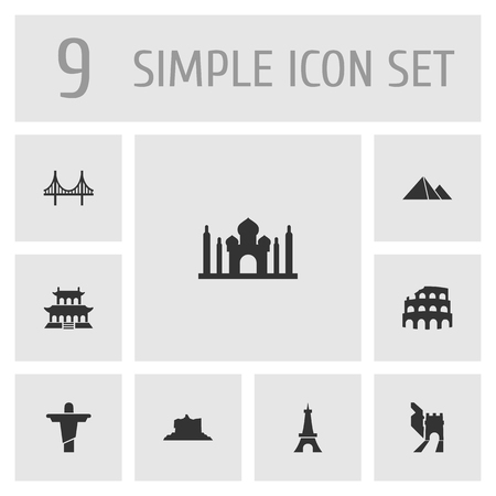 Set Of 9 Landmarks Icons Set.Collection Of Paris, Great Pyramid, India Mosque And Other Elements.