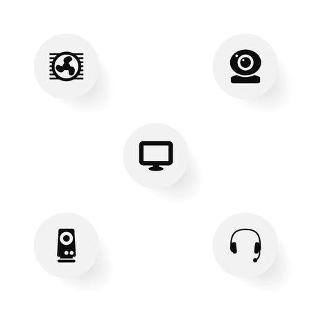 Set Of 5 Computer Icons Set.Collection Of Headset, Amplifier, Fan And Other Elements.