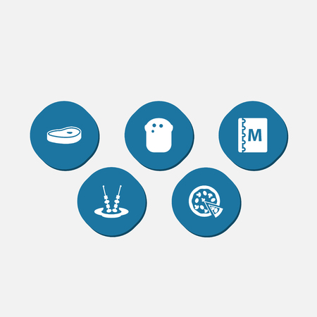 directory: Set Of 5 Bar Icons Set.Collection Of Pepperoni, Canape, Baguette And Other Elements.