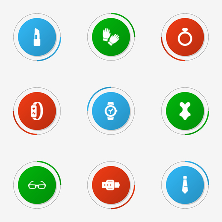 Set Of 9 Ornamentation Icons Set.Collection Of Strap, Gadget, Beachwear And Other Elements.